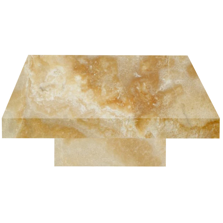 Honey Square Solid Onyx Coffee Table