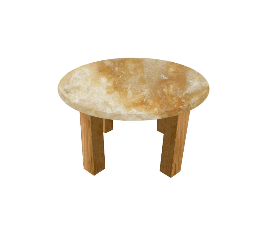 Honey Onyx Round Coffee Table with Square Oak Legs