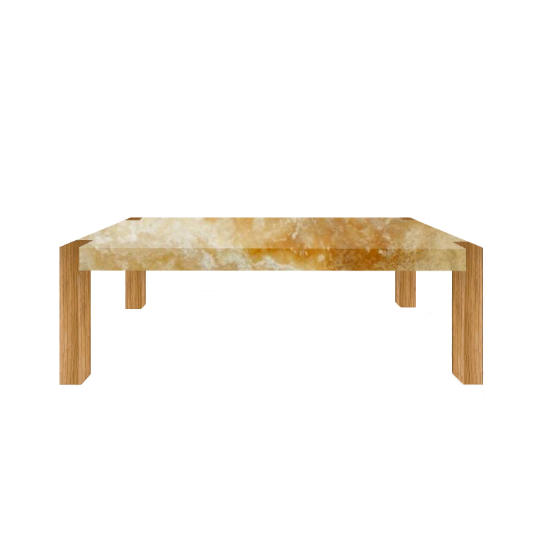 Honey Percopo Solid Onyx Dining Table with Oak Legs
