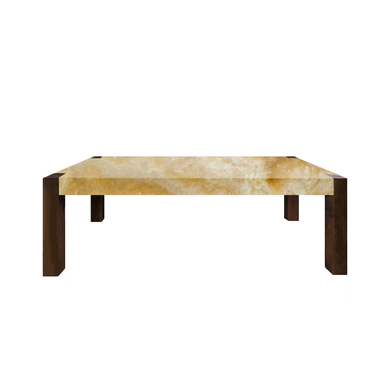 Honey Percopo Solid Onyx Dining Table with Walnut Legs