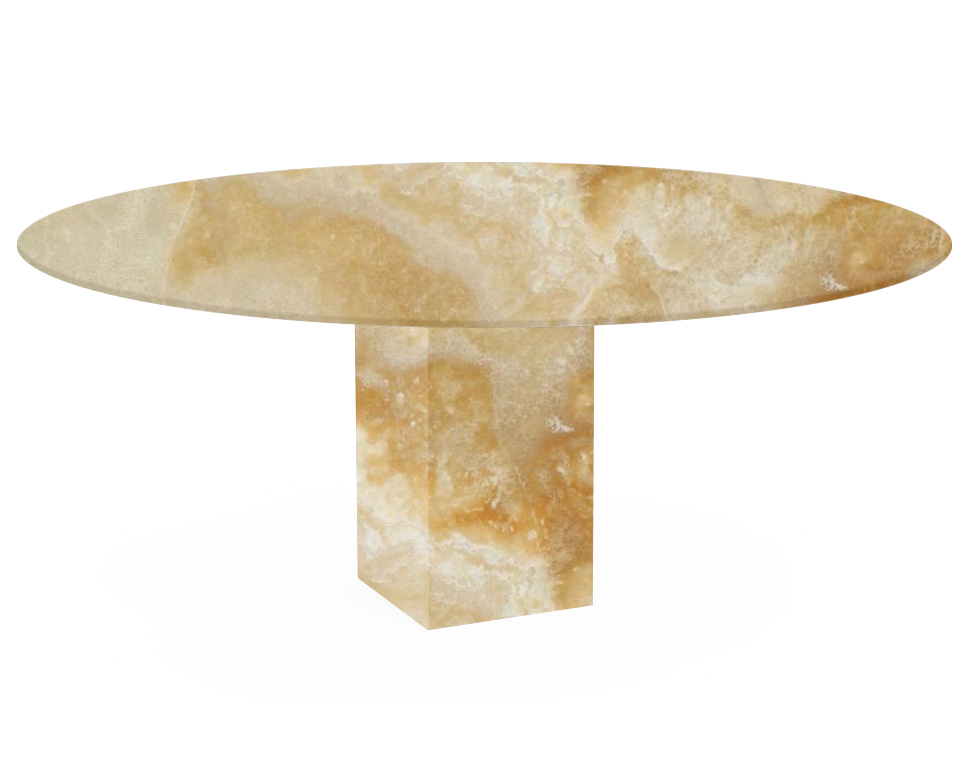 Honey Arena Oval Onyx Dining Table