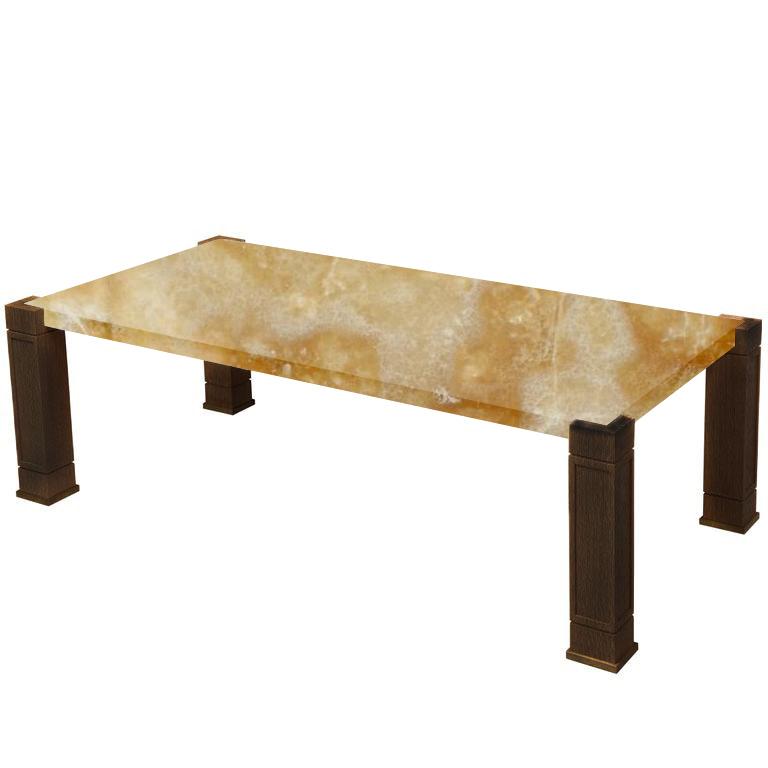Faubourg Honey Onyx Inlay Coffee Table with Walnut Legs