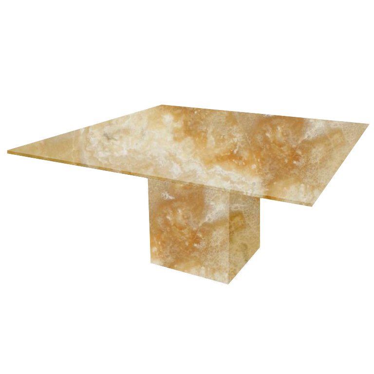 Honey Bergiola Square Onyx Dining Table