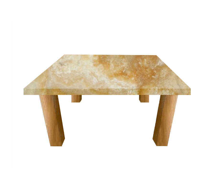 Honey Onyx Square Coffee Table with Square Oak Legs