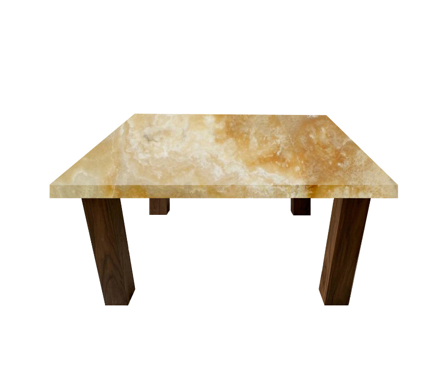 Honey Onyx Square Coffee Table with Square Walnut Legs