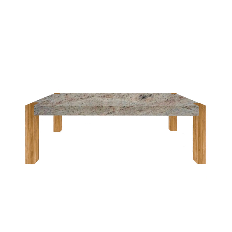 Ivory Fantasy Percopo Solid Granite Dining Table with Oak Legs
