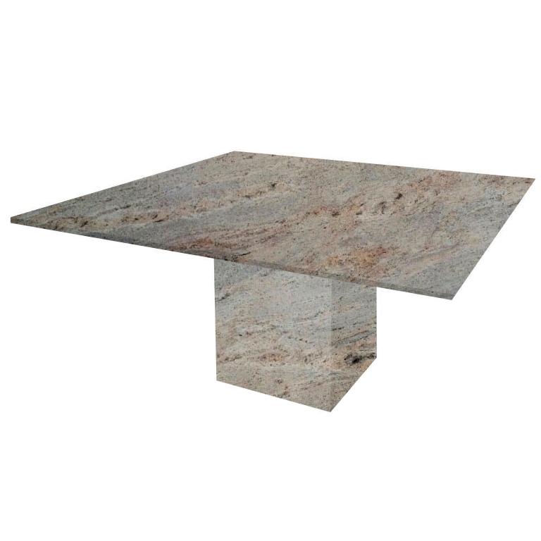 Ivory Fantasy Bergiola Square Granite Dining Table