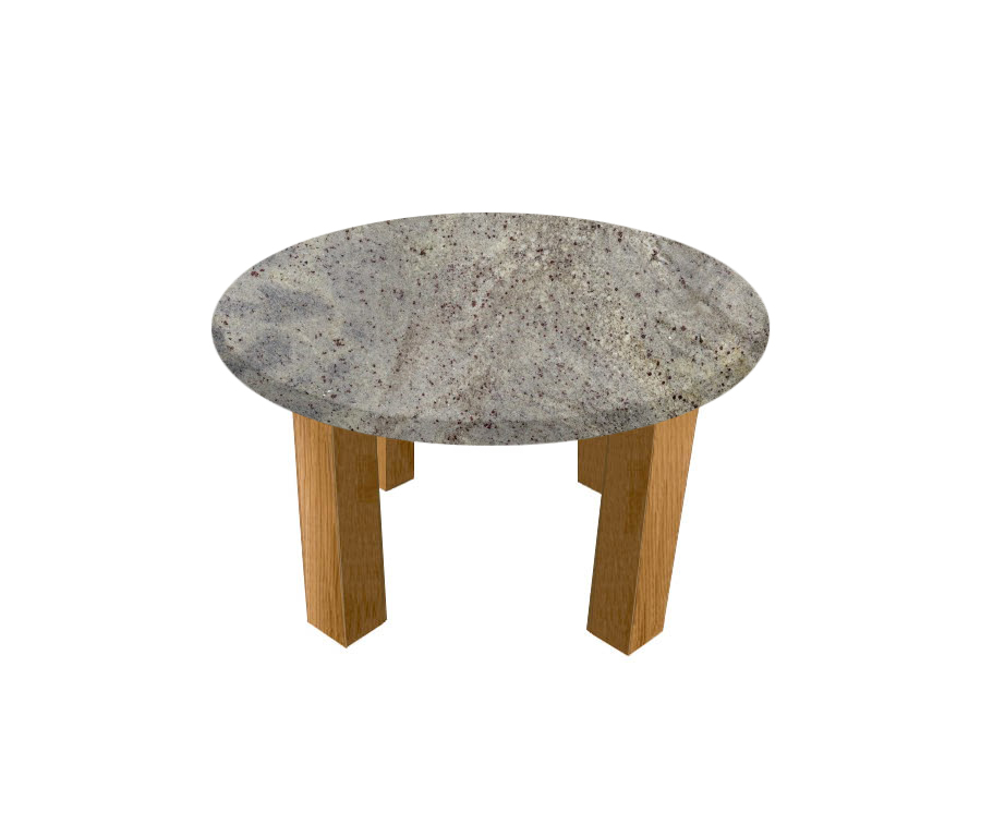 Kashmir White Round Coffee Table with Square Oak Legs