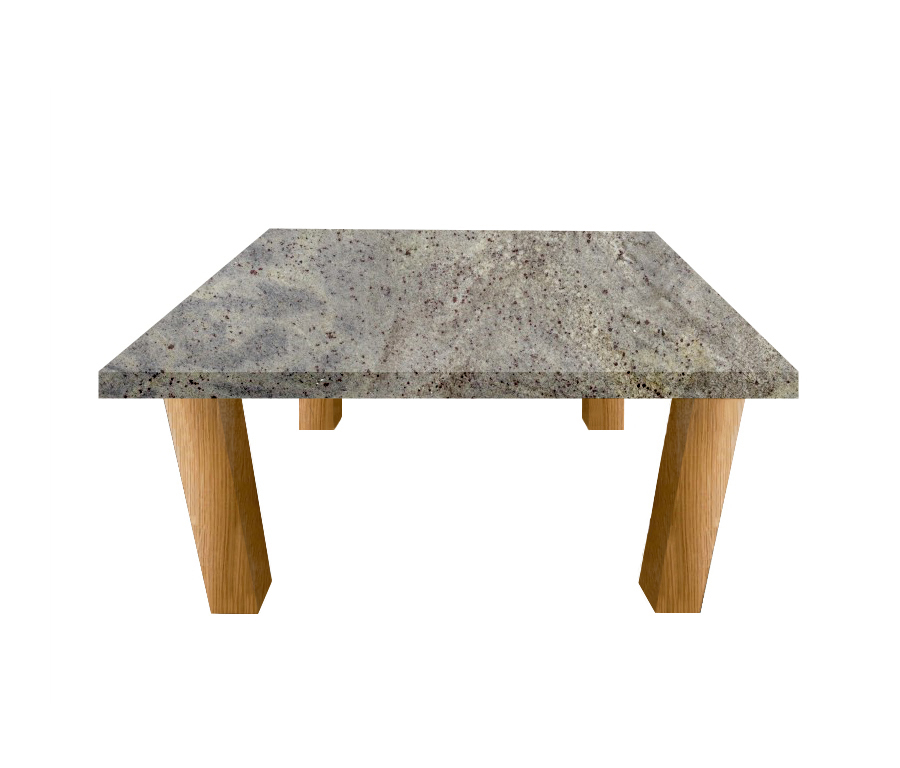 Kashmir White Square Coffee Table with Square Oak Legs