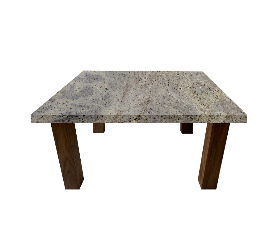 Kashmir White Square Coffee Table with Square Walnut Legs