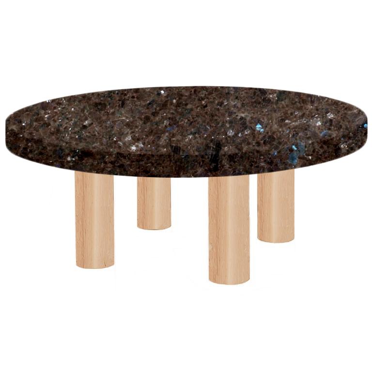 Round Labrador Antique Coffee Table with Circular Ash Legs