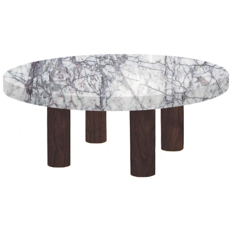 Round Lilac Milas Coffee Table with Circular Walnut Legs