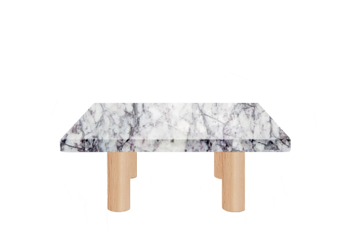 Lilac Milas Square Coffee Table with Circular Ash Legs