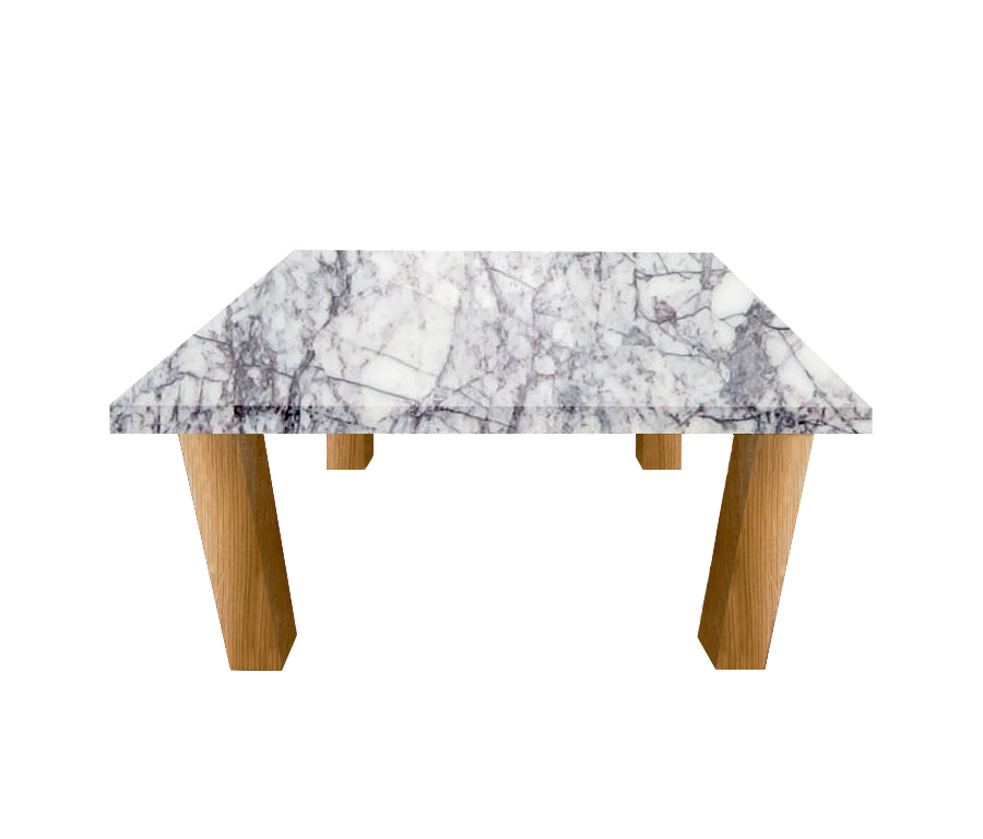 Lilac Milas Square Coffee Table with Square Oak Legs