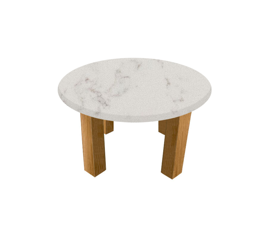 Luni Satin Round Coffee Table with Square Oak Legs