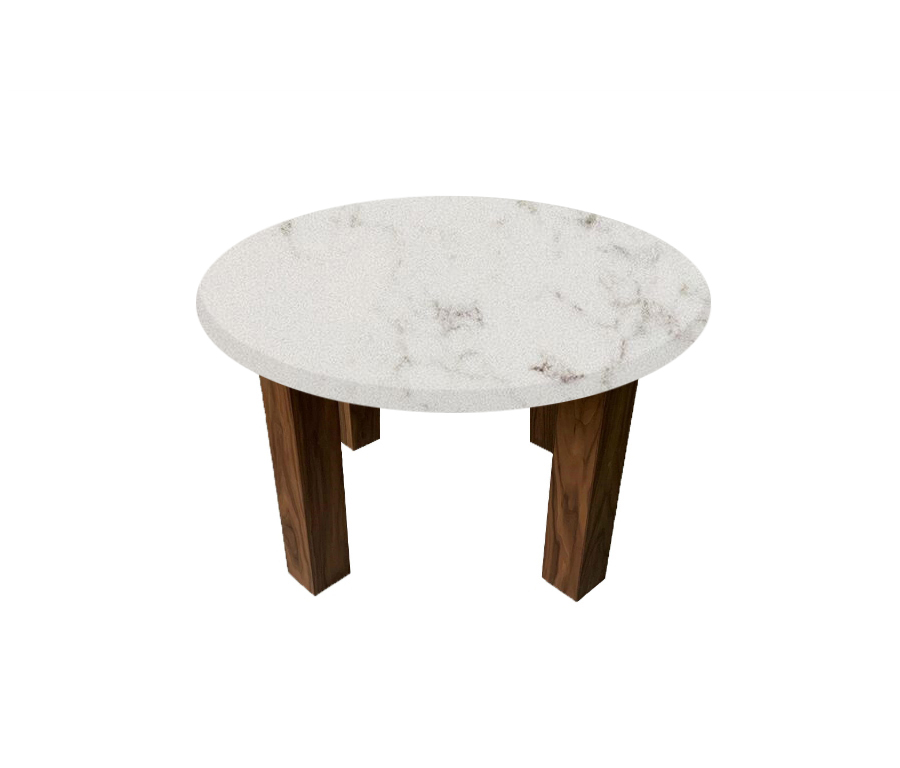 Luni Satin Round Coffee Table with Square Walnut Legs