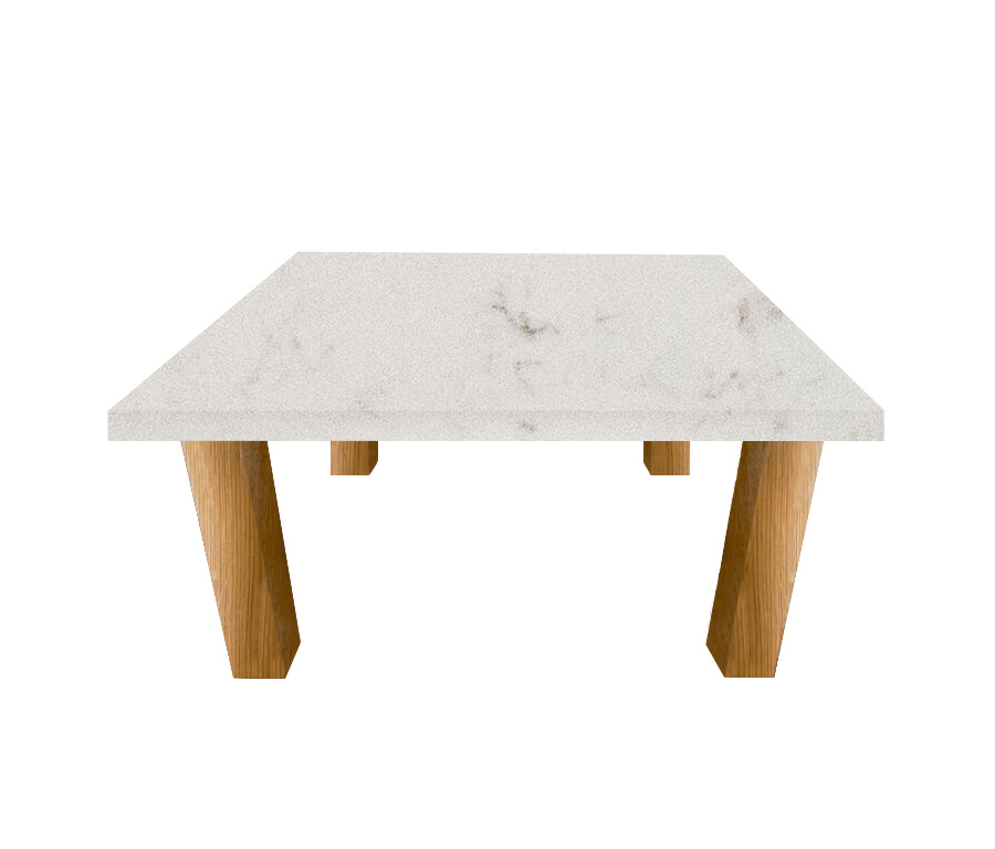 Luni Satin Square Coffee Table with Square Oak Legs