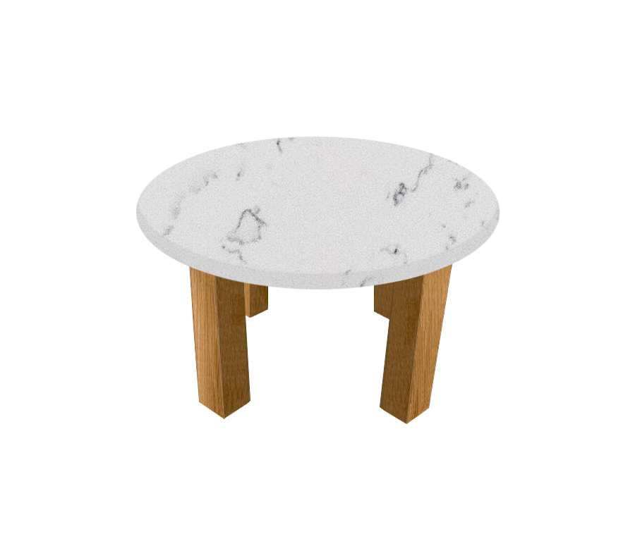 Luni Spring Round Coffee Table with Square Oak Legs