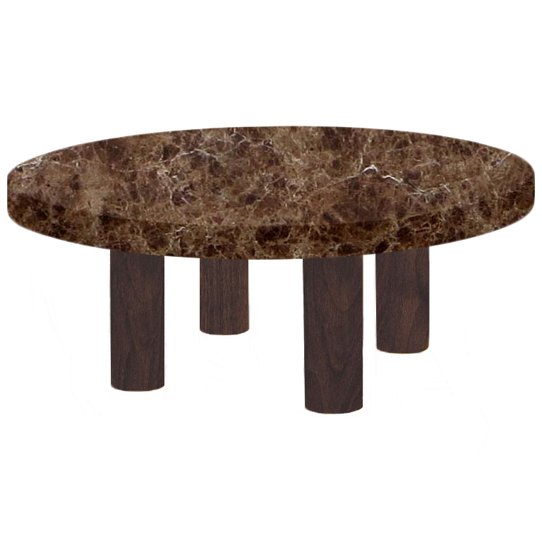 Round Marron Imperial Coffee Table with Circular Walnut Legs