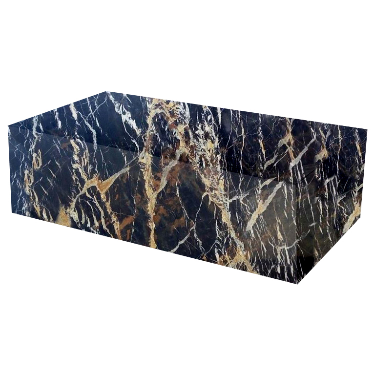 Michelangelo Black and Gold Rectangular Solid Marble Coffee Table