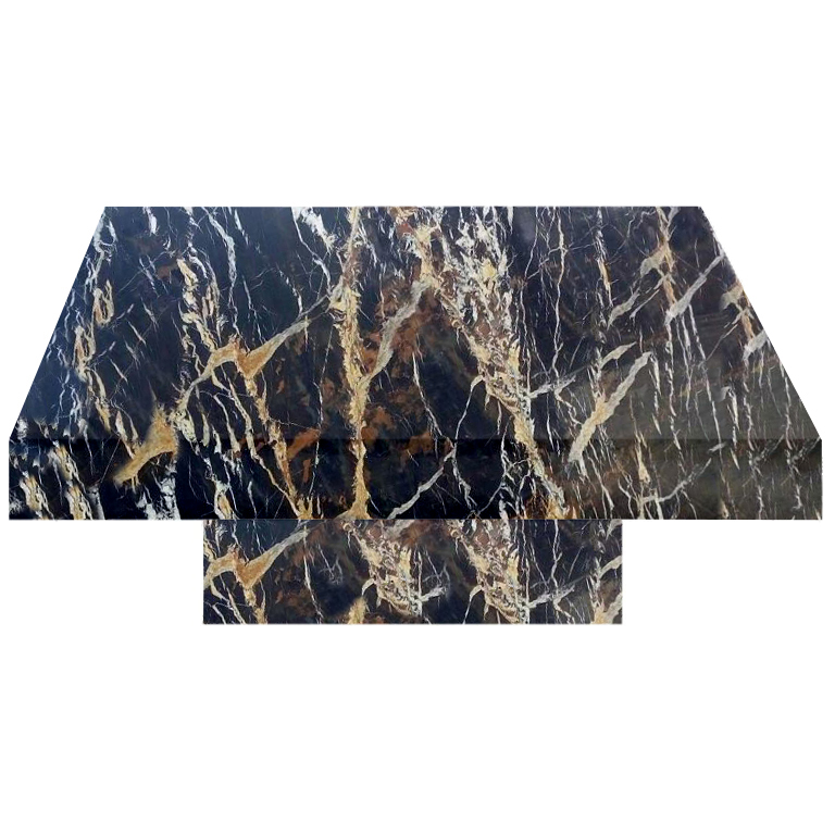 Michelangelo Black and Gold Square Solid Marble Coffee Table