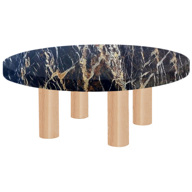 Round Michelangelo Black and Gold Coffee Table with Circular Ash Legs