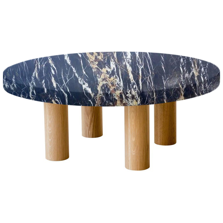 Round Michelangelo Black and Gold Coffee Table with Circular Oak Legs