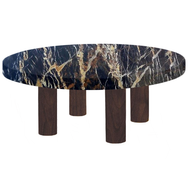 Round Michelangelo Black and Gold Coffee Table with Circular Walnut Legs