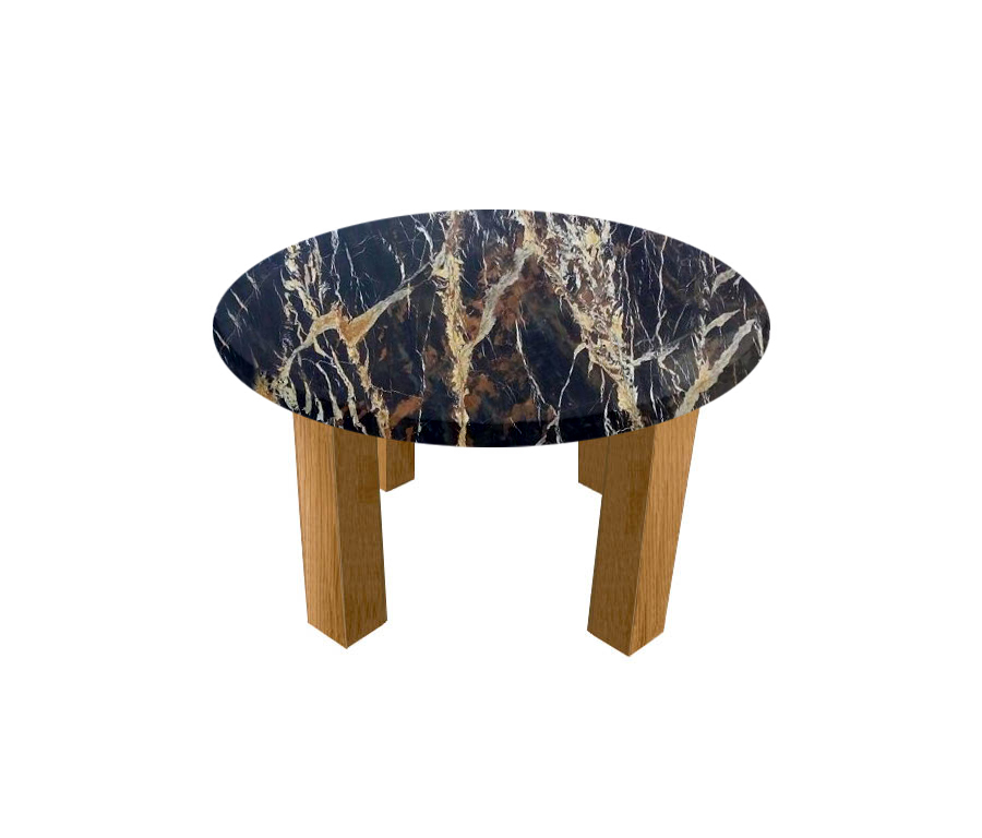 Michelangelo Black and Gold Round Coffee Table with Square Oak Legs