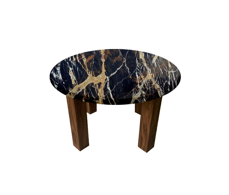 Michelangelo Black and Gold Round Coffee Table with Square Walnut Legs