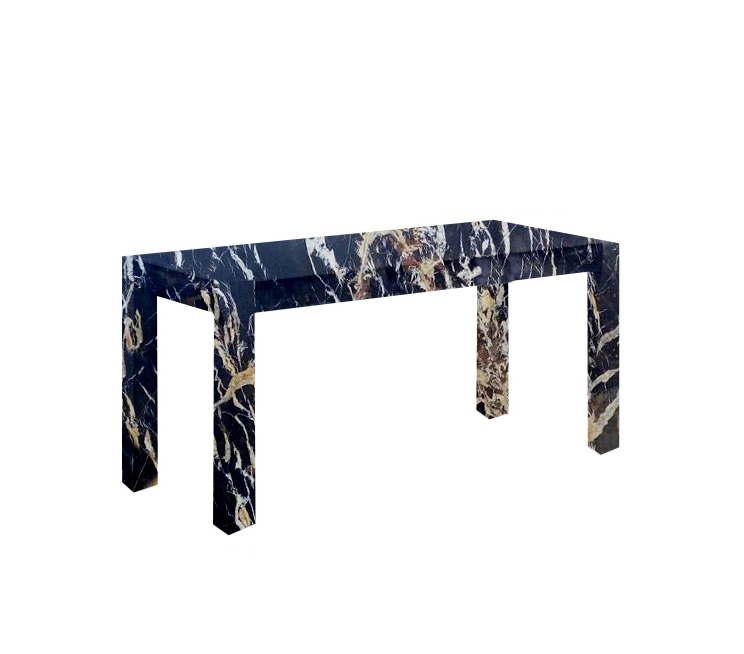 Michelangelo Black and Gold Canaletto Solid Marble Dining Table
