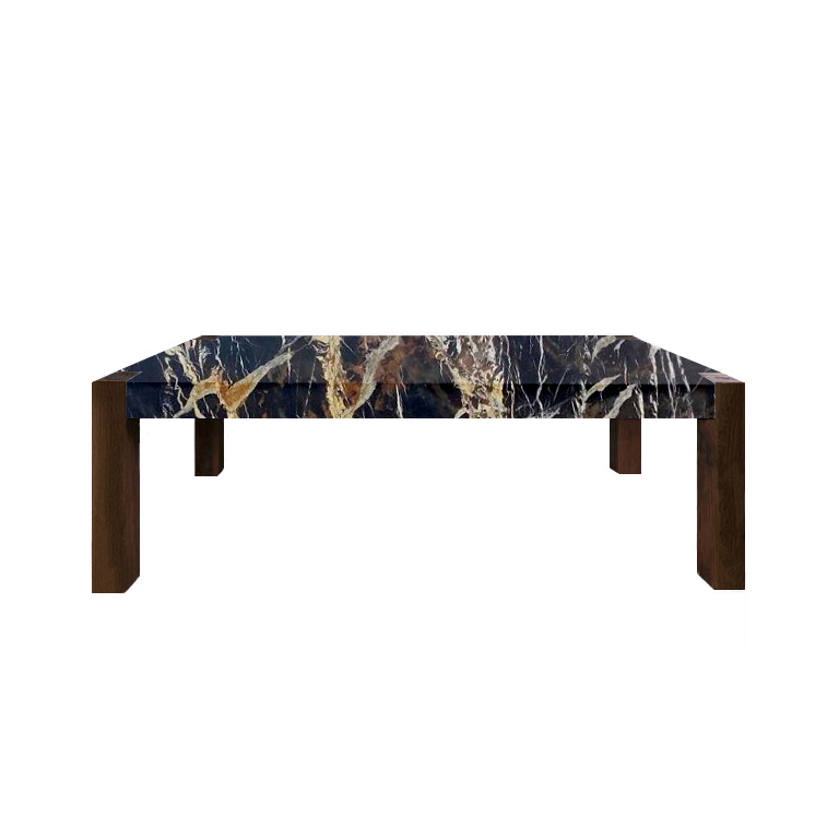 Michelangelo Black and Gold Percopo Marble Dining Table with Walnut Legs