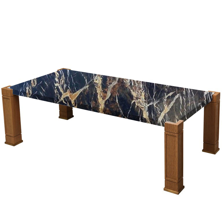 Faubourg Michelangelo Black and Gold Inlay Coffee Table with Oak Legs