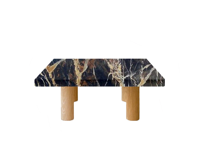 Michelangelo Black and Gold Square Coffee Table with Circular Oak Legs