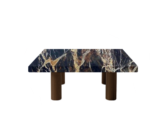 Michelangelo Black and Gold Square Coffee Table with Circular Walnut Legs