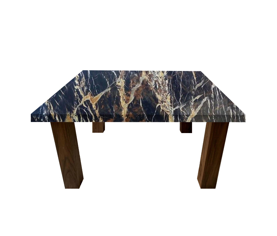 Michelangelo Black and Gold Square Coffee Table with Square Walnut Legs
