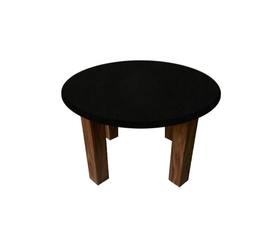 Nero Assoluto Round Coffee Table with Square Walnut Legs