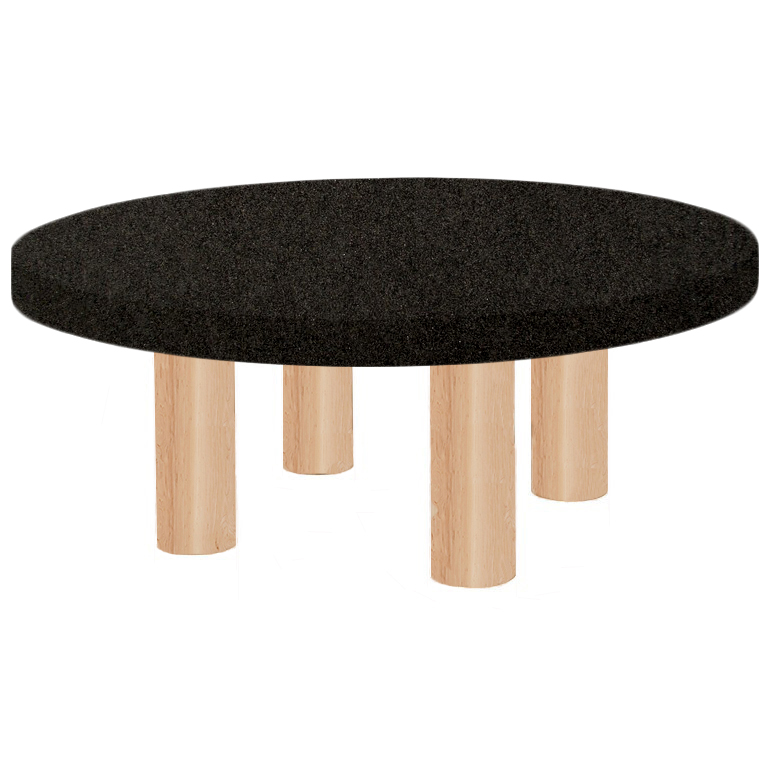 Round Nero Impala Coffee Table with Circular Ash Legs