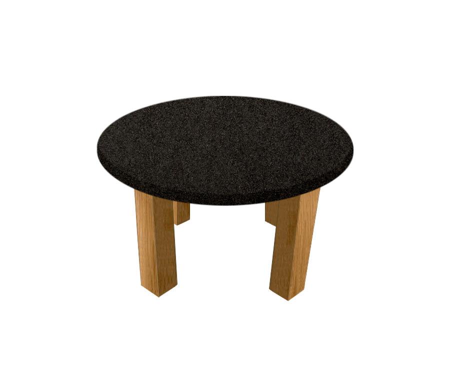 Nero Impala Round Coffee Table with Square Oak Legs
