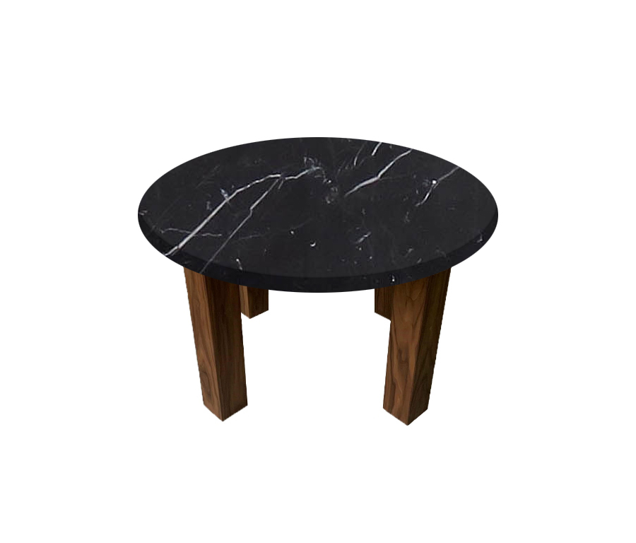 Nero Marquinia Round Coffee Table with Square Walnut Legs