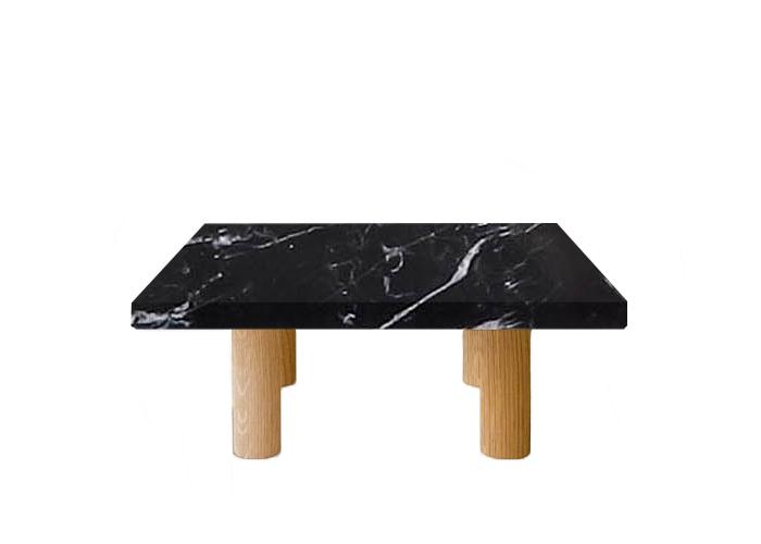Nero Marquinia Square Coffee Table with Circular Oak Legs