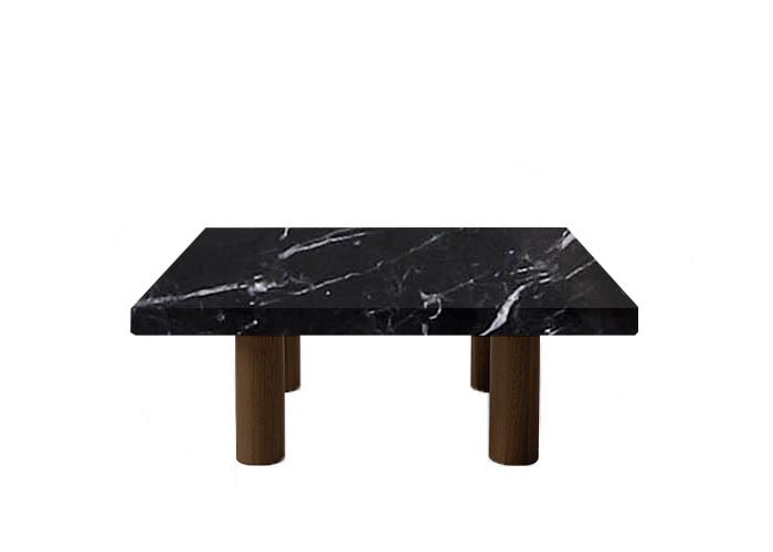 Nero Marquinia Square Coffee Table with Circular Walnut Legs