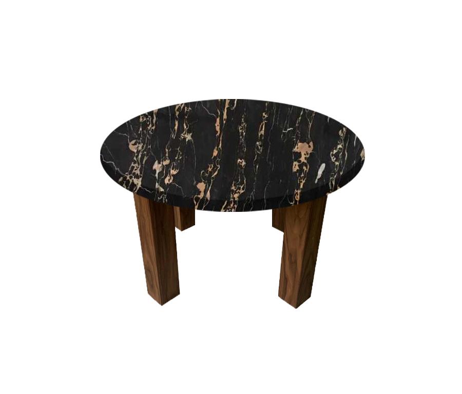 Nero Portoro Extra Round Coffee Table with Square Walnut Legs