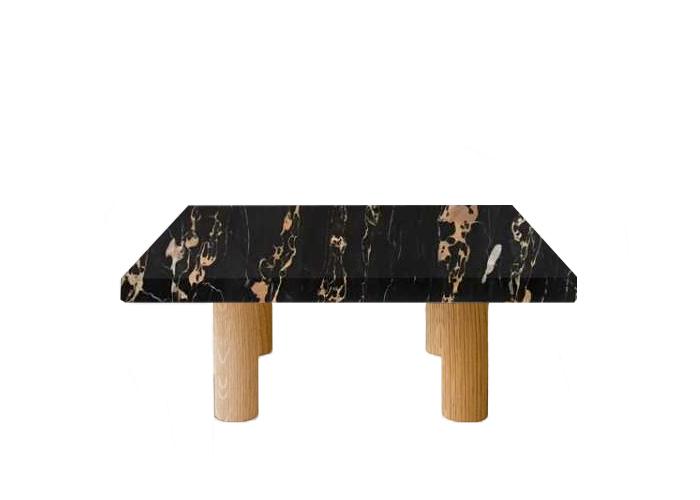 Nero Portoro Extra Square Coffee Table with Circular Oak Legs