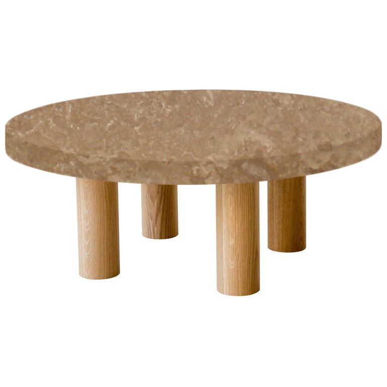 Round Noce Travertine Coffee Table with Circular Oak Legs