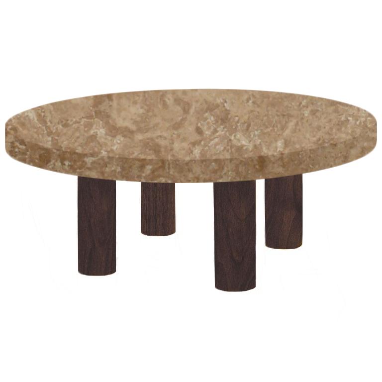 Round Noce Travertine Coffee Table with Circular Walnut Legs