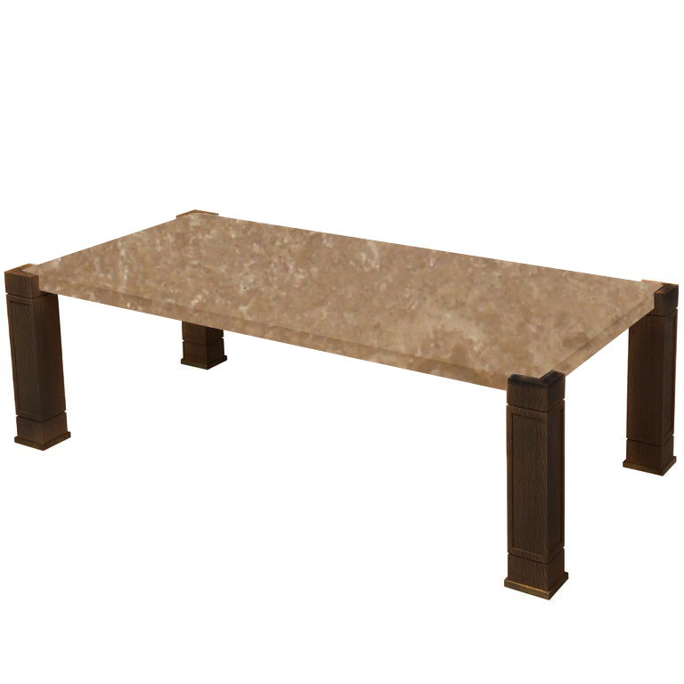 Faubourg Noce Travertine Inlay Coffee Table with Walnut Legs
