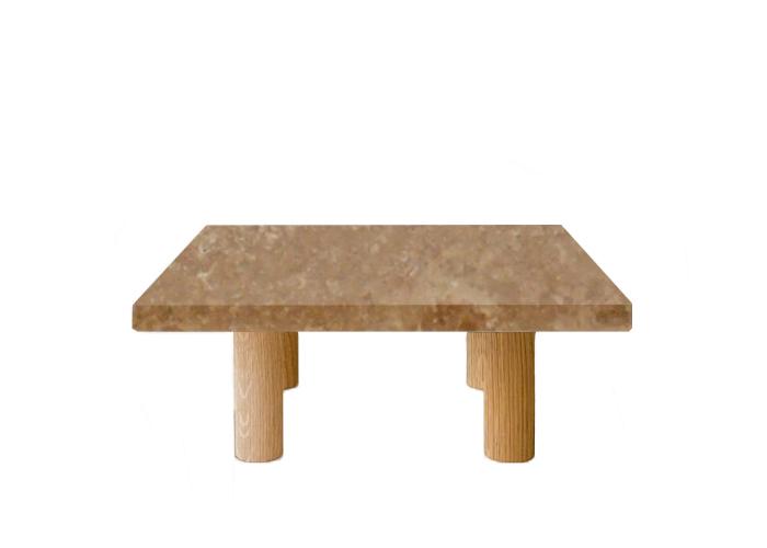 Noce Travertine Square Coffee Table with Circular Oak Legs