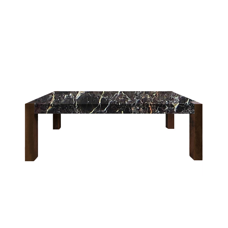 Noir St. Laurent Percopo Solid Marble Dining Table with Walnut Legs