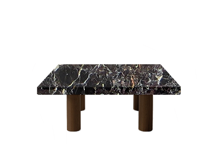 Noir St Laurent Square Coffee Table with Circular Walnut Legs